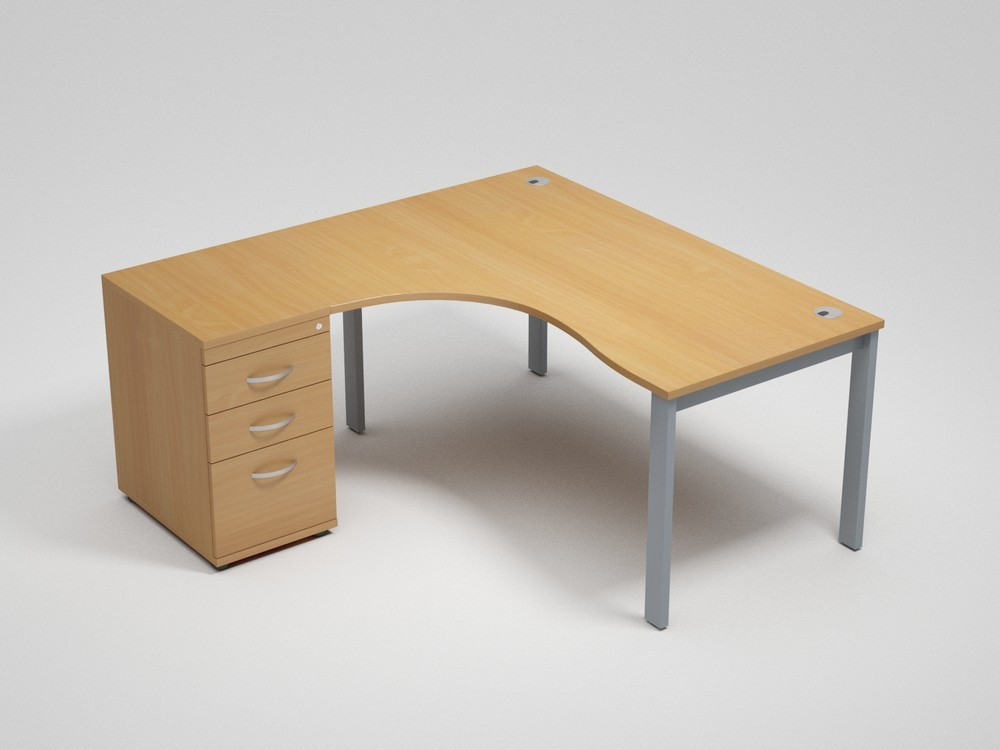 Switch Left Handed Ergonomic Desk With A High Pedestal